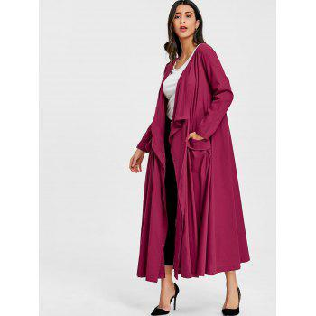 Side Pocket Maxi Drape Coat - WINE RED 2XL