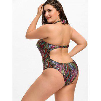 African Plus Size Halter Keyhole Swimwear - multicolorCOLOR 2XL