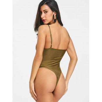 Knotted Backless Cami Bodysuit - ARMY GREEN L