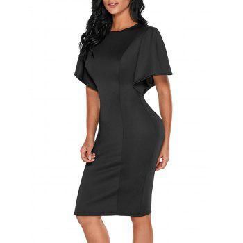 Back Slit Short Bell Sleeve Bodycon Dress - BLACK XL