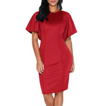 Back Slit Short Bell Sleeve Bodycon Dress - RED XL