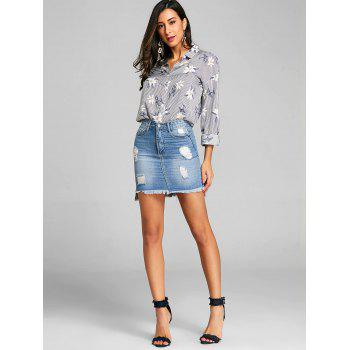 Stripe and Floral High Low Blouse - FLORAL L