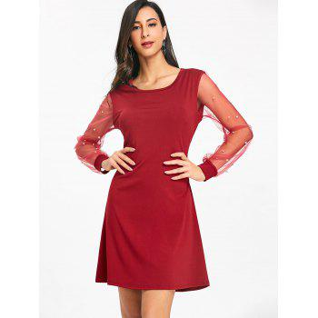 Mesh Sleeve Faux Pearl Casual Dress - WINE RED XL