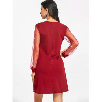 Mesh Sleeve Faux Pearl Casual Dress - WINE RED L