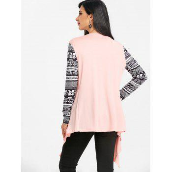 Tribal Print Sleeve Draped Asymmetric Cardigan - PINK L