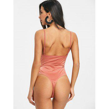 Knotted Backless Cami Bodysuit - RUSSET RED L