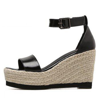 Espadrille Wedge Heel Sandals - BLACK 39
