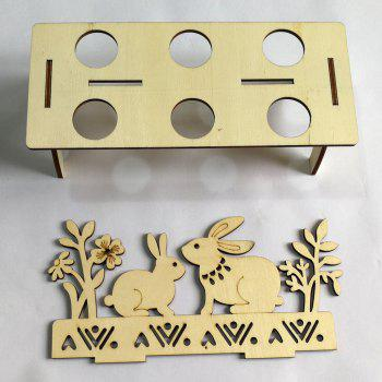 Bunny Embellished Wooden Easter Egg Stand - WOOD