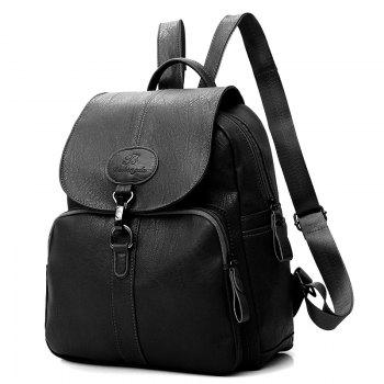 Faux Leather Travel Backpack - BLACK