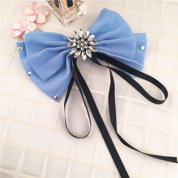 Rhinestone Floral Bowknot Pattern Decorated Collar Brooch - LAKE BLUE