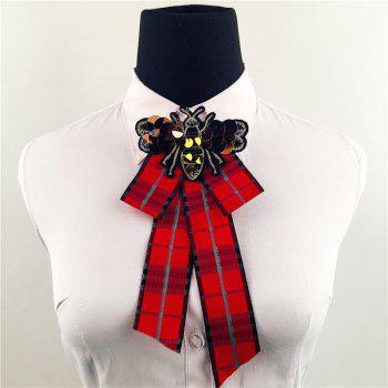 Vintage Bee Pattern Bow Collar Brooch - RED