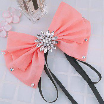 Rhinestone Floral Bowknot Pattern Decorated Collar Brooch - PINK