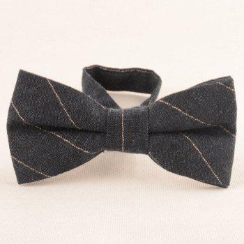 Striped Pattern Necktie Bowtie and Handkerchief - CADETBLUE