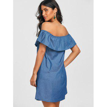 Flounce Off The Shoulder Denim Dress - BLUE M