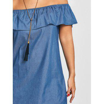 Flounce Off The Shoulder Denim Dress - BLUE L