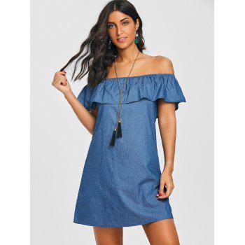 Flounce Off The Shoulder Denim Dress - BLUE 2XL