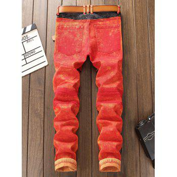 Zipper Color Block Biker Jeans - Rouge 33