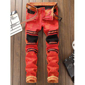 Zipper Color Block Biker Jeans - RED 34