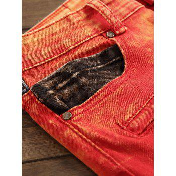 Zipper Color Block Biker Jeans - Rouge 29