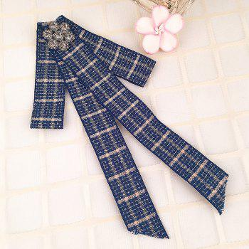 Simple Checkered Pattern Rhinestone Collar Brooch - BLUE