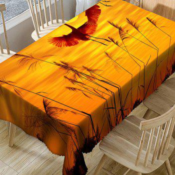 Cranes Reed Sunset Print Waterproof Table Cloth - YELLOW W54 INCH * L54 INCH