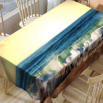 Waterproof Sunlight Ocean Wave Print Table Cloth - BLUE W54 INCH * L54 INCH