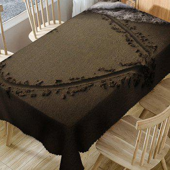 Waterproof Drawing Heart on Beach Print Table Cloth - BROWN W54 INCH * L72 INCH
