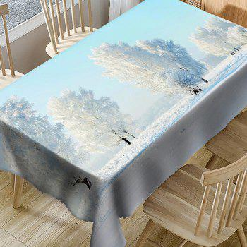 Waterproof Natural Trees Snow Winter Print Table Cloth - WHITE W54 INCH * L54 INCH