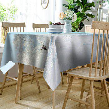 Waterproof Natural Trees Snow Winter Print Table Cloth - WHITE W54 INCH * L72 INCH