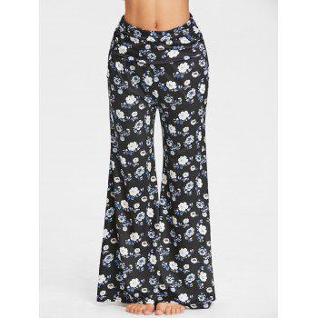 Wide Leg Flower Print Pants - BLACK/BLUE M