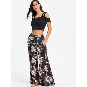 Wide Leg Flower Print Pants - BLACK/GREEN XL