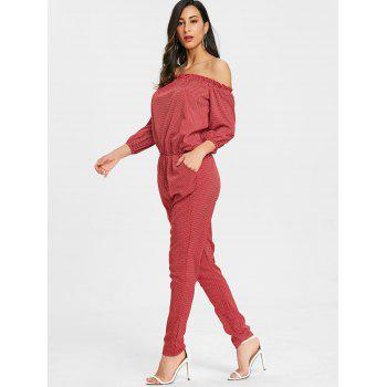 Ruffle Polka Dot Off Shoulder Jumpsuit - RED S