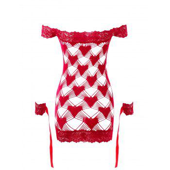See Through Off Shoulder Crochet Lingerie Dress - RED ONE SIZE
