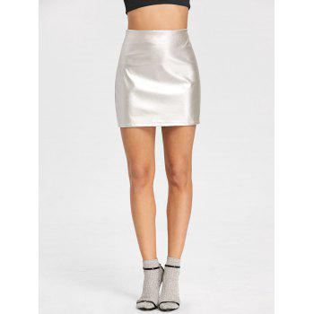 High Rise Sparkle Mini Skirt - SILVER S