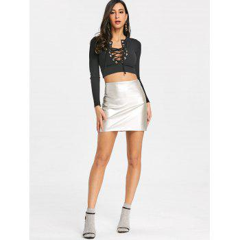 Mini-jupe Sparkle High Rise - Argent L