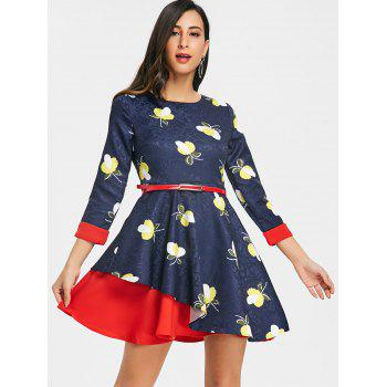 Printed Jacquard Mini A Line Dress - CERULEAN 2XL