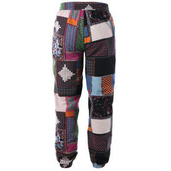Tribal Print Drawstring Jogger Pants - COLORMIX L