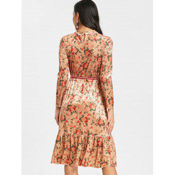 Velvet Belted Floral Flounced Dress - DEEP YELLOW M