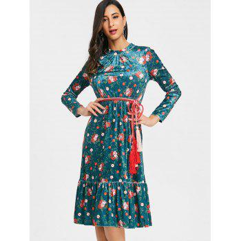 Velvet Belted Floral Flounced Dress - DEEP GREEN M