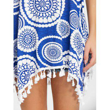 Tassels Ethnic Print Tunic Tank Top - BLUE M