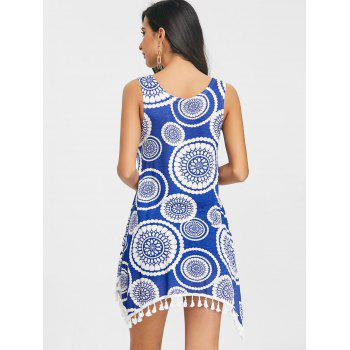 Tassels Ethnic Print Tunic Tank Top - BLUE S