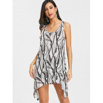 Asymmetrical Printed Swing Tank Top - WHITE L