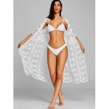 Sheer Lace Long Wrap Cover Up - WHITE ONE SIZE