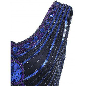 Fringe Sequined Beaded Midi Sparkle Dress - BLUE 2XL