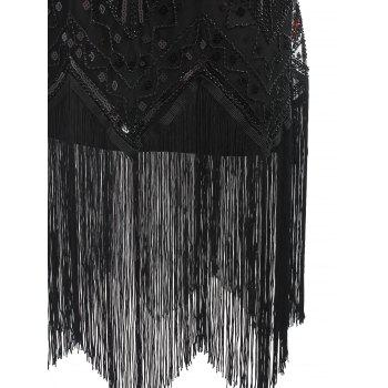 Fringe Sequined Beaded Midi Sparkle Dress - DEEP RED S