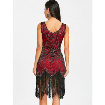 Fringed Sequins Midi Sparkly Dress - WINE RED 2XL