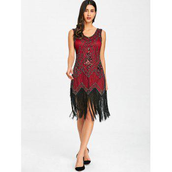 Fringed Sequins Midi Sparkly Dress - WINE RED L
