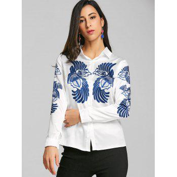 Totem Print Silk Fitted Shirt - WHITE L