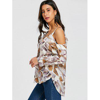 High Low Hem Leaves Pattern Blouse - COLORMIX L