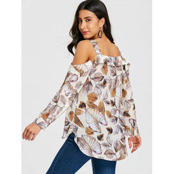 High Low Hem Leaves Pattern Blouse - COLORMIX XL